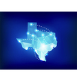 Texas state map polygonal with spotlights places vector image