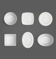 top view white different shapes bowls vector image vector image