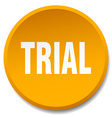 trial orange round flat isolated push button vector image vector image