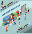 vending machines consumers isometric composition vector image vector image