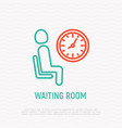 waiting room sign man sits on chair near clock vector image