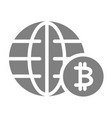 world economy solid icon globe and bitcoin sign vector image vector image