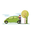 young guy charging her electric car in the vector image