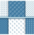 Set of seamless floral patterns in blue colors vector image