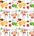 Seamless chef and different ingredients vector image