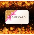 Golden gift card with pink ribbon and bow vector image