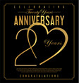 20 years anniversary black and gold background vector image vector image