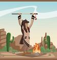 american indian cartoon in desert vector image vector image
