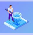 app tester isometric man testing mobile app man vector image vector image