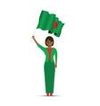 bangladeshi woman waving a flag vector image vector image