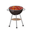 barbecue party grill with sausages cartoon vector image vector image