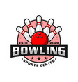 bowling sports logo design vector image