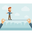 Businessman walking on wire vector image