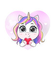 cartoon unicorn in heart shape holding vector image