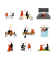 cat lover set man and pet in movie theater lovers vector image vector image