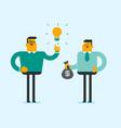 caucasian businessman exchanging idea for money vector image vector image
