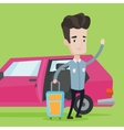 Caucasian man traveling by car vector image vector image