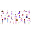 crowd of tiny women active in the park flat vector image