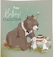 cute birthday hares and bear vector image vector image