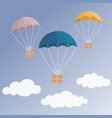 delivery concept colorful parachute carrying gift vector image vector image