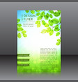 design of the flyer with leaves and sun vector image vector image