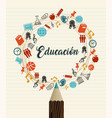 education school quote in spanish language vector image vector image
