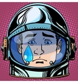 emoticon sadness tears Emoji face man astronaut vector image vector image