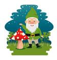 fantastic character dwarf cartoon vector image vector image