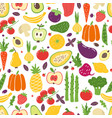 flat vegetables seamless pattern hand drawn vector image