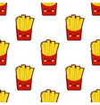 french fries seamless pattern with cute fast food vector image