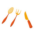 golden cutlery spoon and fork with knife vector image vector image