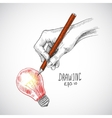 Hand drawing lightbulb vector image vector image