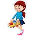 happy girl holding toy vector image