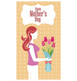 Happy mothers day - woman flowers heart background vector image
