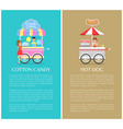 hot dog and cotton candy stands colorful icons vector image vector image