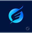 icon bird wing blue circle flight aviation logo vector image vector image