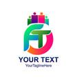 initial letter ft logo template colorfull design vector image