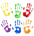 isolated multicolored paint hand prints vector image vector image