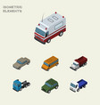 isometric transport set of lorry autobus freight vector image vector image