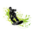 jumping snowboarder sign vector image