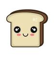 kawaii cartoon bread slice vector image vector image