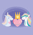little unicorns rainbow mane with crown and heart vector image vector image
