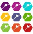 magic wand icons set 9 vector image