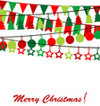 Merry Christmas card with bunting and garlands vector image