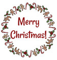 merry christmas holly and ginger cookies wreath vector image vector image