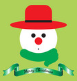merry christmas - snowman and ribbon vector image vector image