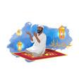 muslim man sits on carpet and prays among lanterns vector image