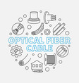 optical fiber cable circular outline vector image vector image