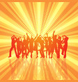 party crowd on retro starburst background vector image