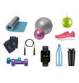 realistic fitness equipment sport symbols for vector image